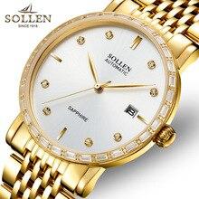 SOLLEN 9.9 ММ мужские часы автоматические механические часы алмаз тонкие мужчины часы водонепроницаемый календарь мужчины часы золото муки