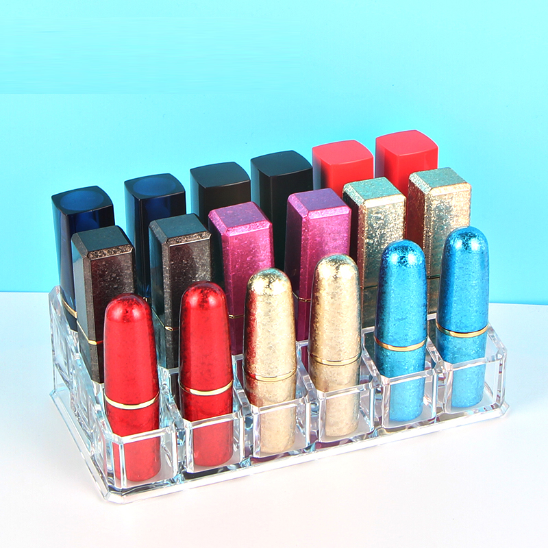 1pc Acrylic 18 Grids Lipstick Tube Storage Container Empty Clear Cosmetic Organizer Box Makeup Lipbalm Holder Desktop Display leather makeup brushes holder case empty storage tube case for makeup brushes container dispaly stand cup container solid case
