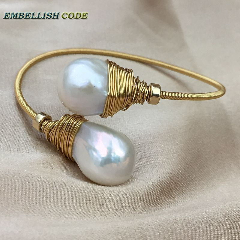 NEW simple Design gold with pearl hand make two baroque pearls bangle bracelet Designer pieces