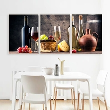 Laeacco 3 Panel Wine Cup Canvas Painting Kitchen Decor Posters and Prints Wall Artworkwork Nordic Home Living Room Decoration
