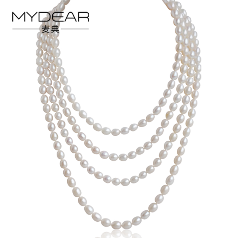MYDEAR Pearl Long Necklaces Multi-layer Rice Freshwater Pearl Costume Necklace Jewelry,White,7-8mm,Sweater Chain,High Luster gold multi layer necklace sweater chain necklace