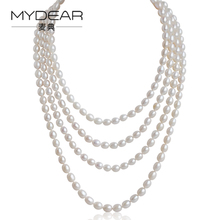 MYDEAR Pearl Long Necklaces Multi-layer Rice Freshwater Pearl Costume Necklace Jewelry,White,7-8mm,Sweater Chain,High Luster