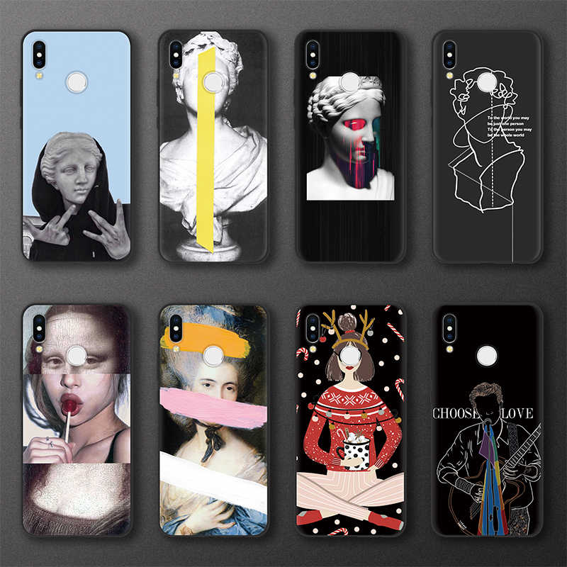 Sculpture Mona Lisa Cover Case For Huawei Honor 8X 9X 7A Pro 10 9 Lite Case FOR Huawei Y5 Y6 Y9 Prime 2017 2018 2019 Case TPU