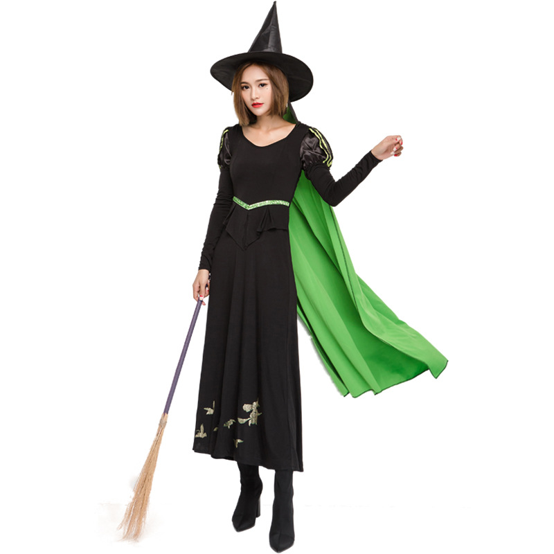 Umorden Adult Women Wicked Witch Costume Cosplay Wizard of Oz 75th Anniversary Edition Halloween Carnival Dress Up Green Cape