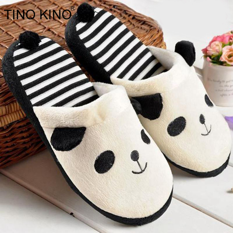 TINO KINO Women Winter Home Slippers Female Warm Plush Panda Cotton Cute Soft Floor Indoor Shoes Ladies Comfort Flat Plus Size