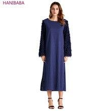 New Fringed Long Dress 2019 Blue Black Round Neck Long Sleeve knitted dress Casual Office Robes Women elegant dresses for girls цены