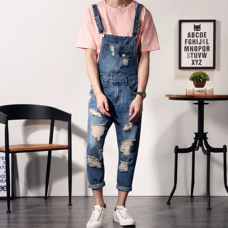 2017 New Mens Bib Overalls Fashion Ankle Length Denim Overalls Men Ripped Jeans Male Denim Jumpsuit MB17078 2017 spring autumn fashion mens slim jean overalls casual bib jeans for men male ripped denim jumpsuit suspenders bibs
