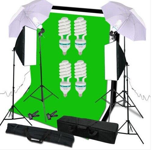Photography Studio Set:Soft Umbrella&Backdrop Stand&Light Bulbs&Soft Box&Carry Bag For Lighting Or Youtube