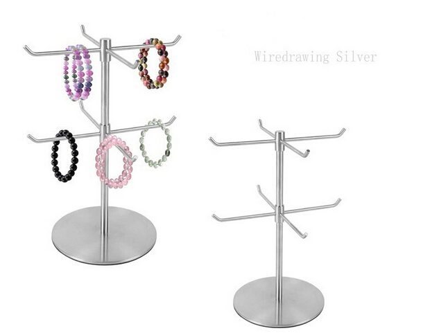 Double Layer Stainless Steel Bracelet Display Holder Necklace scarf Display Stand Holder scarves hook stand furniture accessorie