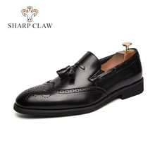 SHARCPCLAW Casual Leather Men Shoes Tassels Loafers Bullock Carving Pointed Toe Loafers Slip-On Mocaasins Men Social Shoes(China)