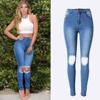 2016 Hot Moda Damska Bawełna Denim Spodnie Stretch Kobiety Ripped Bleach Kolana Jeans Denim Jeans Dla Kobiet American Apparel