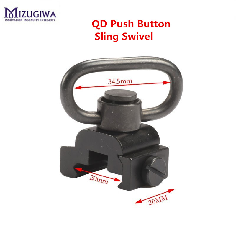 20mm QD Heavy Duty Quick Release Detach Push Button Sling Swivel Adapter Picatinny Rail Mount Base Connecting Sling Ring Caza