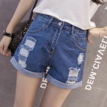 New Arrival Casual Summer Shorts Jeans For Women Sexy Cotton Denim Blue Ripped Casual Mini Short Ripped Tassel Jeans ripped jeans for women real cotton high women jeans american apparel 2016 new summer fashion denim shorts slim casual pants