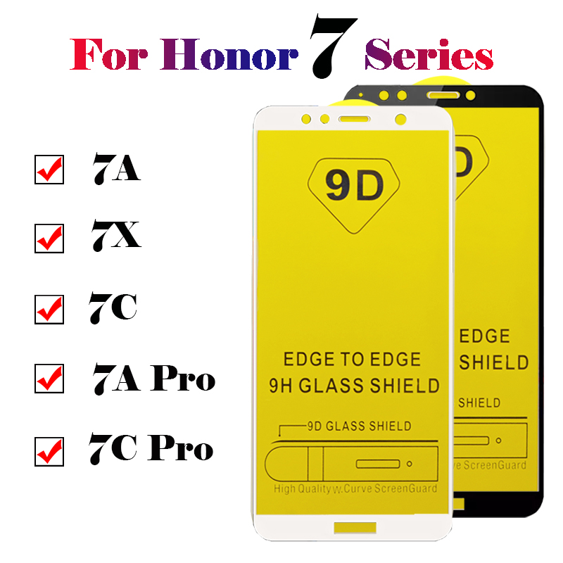 Protective <font><b>glass</b></font> on the for <font><b>Huawei</b></font> <font><b>Honor</b></font> 7c pro screen protector film covers a7 c7 <font><b>7a</b></font> 7X 9D tremp 7 a c apro tempered glas Honer image