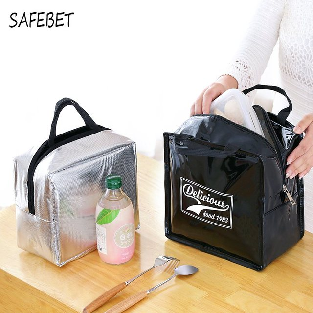 SAFEBET For Women Kids Tote Cooler Lunch Box Insulation Picnic Bags New PU  Leather Ice Pack Thermo Thermal Lunch Bag e4373990f4