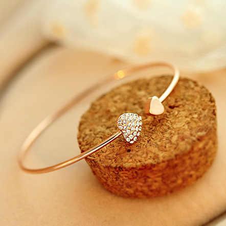 2018 nova moda coração cristal bilezik manguito abertura pulseira de ouro amor strass pulseiras pulseiras para mulher pulseras mujer
