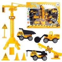 DIY 13 Pcs Set Die Casting Mini Works Cars Tractors Toys Dump Truck Models Classic Toys