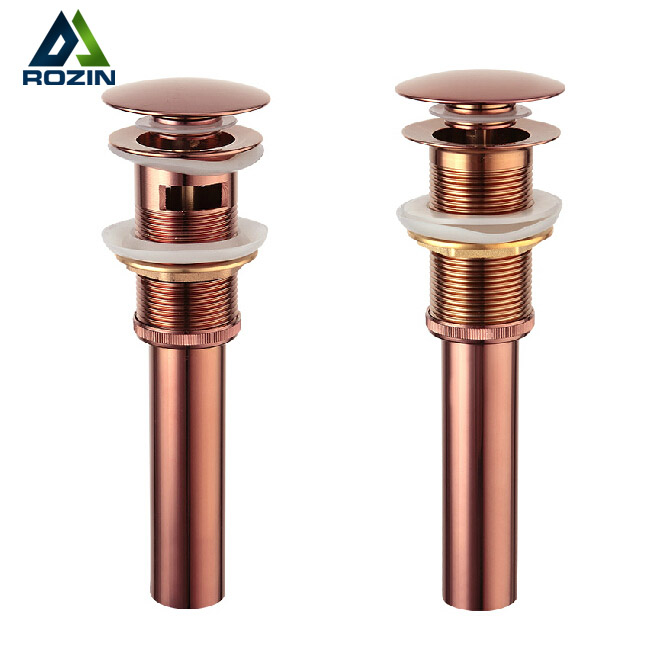 Free Shipping Wholesale And Retail Solid Brass Bathroom Lavatory Sink Pop Up Drain Rose Gold Color