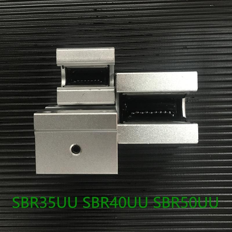 Free Shipping SBR35UU SBR40UU SBR50UU  Linear motion ball bearing slide block match use SBR35 35mm linear guide rail section three track rail drawer slide rails 3 row ball bearing linear guides thicker