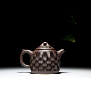 recommended by Han Peidong all hand peony undressed ore mud purple bamboo weaving Qin Quan purple sand teapot tea set