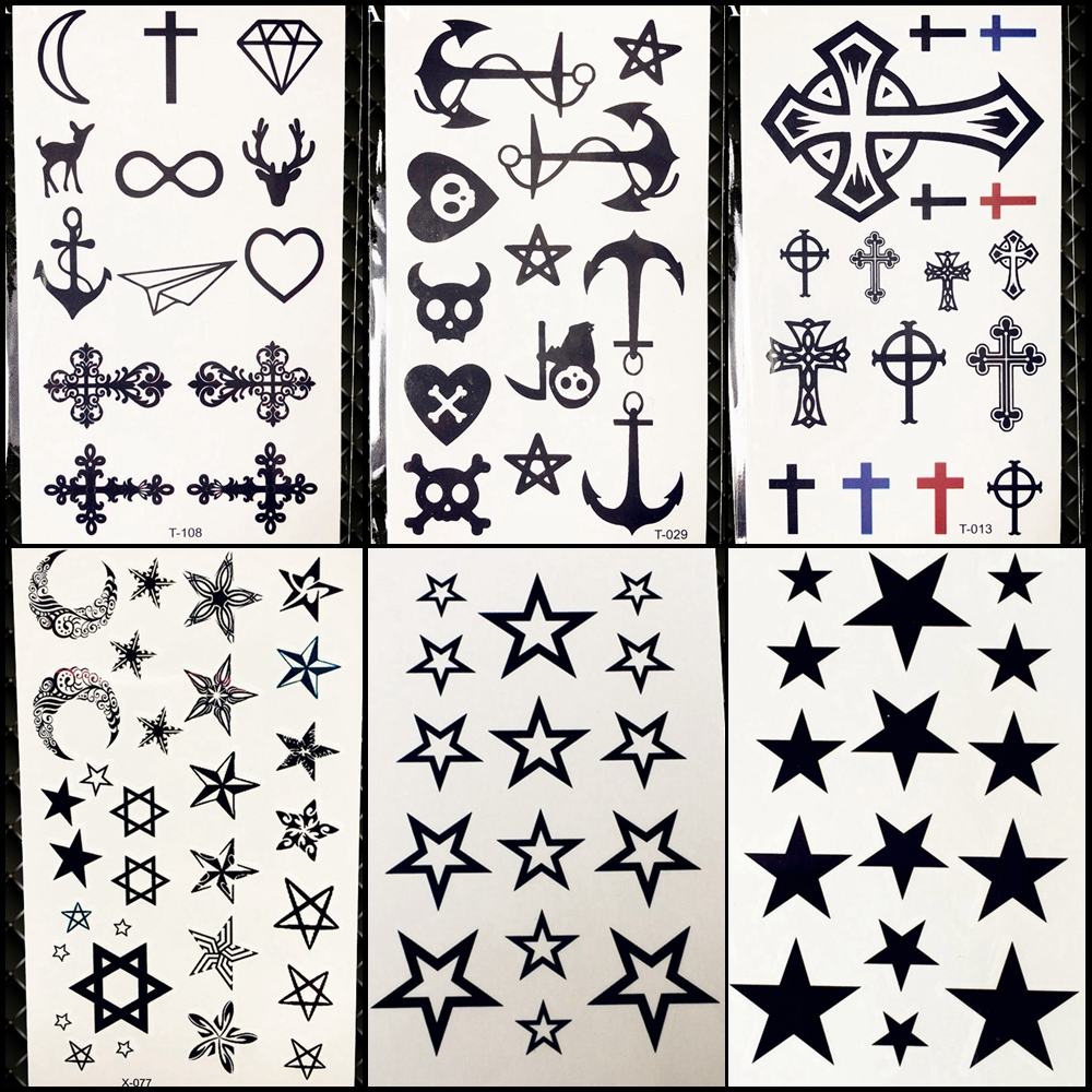 Black Gadgets Boys Fake Tattoo Christ Stickers Girls Body Arm Little Temporary Water Transfer Tattoo Stars Xmas Tatoo Pirate
