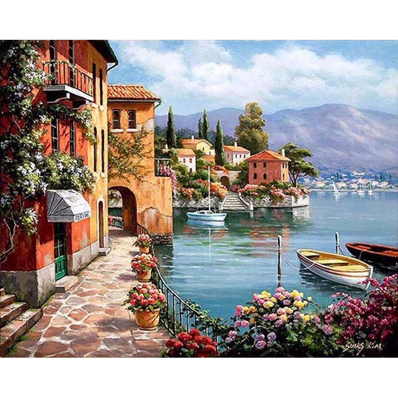 Frameless Seaside House Landscape DIY Slikarstvo By Numbers Kompleti Ročno slikana Oil Painting Akrilna Picture Home Decoration 40x50cm