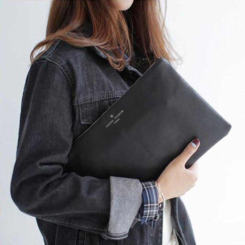 Bolsa de mão feminina em couro liso, bolsa casual de envelope de mão tipo saco para mulheres à noite