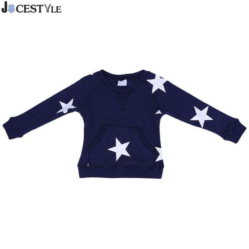 Spring Baby Boys Girls Sweater Toddler Girls Knitwear Star Long-Sleeve Pocket Pullover Fleece Leisure Concise Sweatershirt