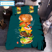BEST.WENSD Gourmet Hamburg bedding set Duvet Cover With Pillowcases bed set Home Textiles Fried pancakes Bedclothes Drop Ship