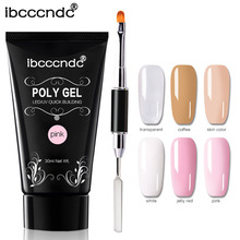 Ibcccndc Poly Gel Set 30ML French Gel Nail Polish Gel Polish Soak Off Tips Brush Tool Nail Art Pen UV Gel Builder Polygel Nails ibd белый гелевый лак для дизайна с тонкой кистью 56954 ibd just gel polish white gel art polish w gel brush 19405 14 мл