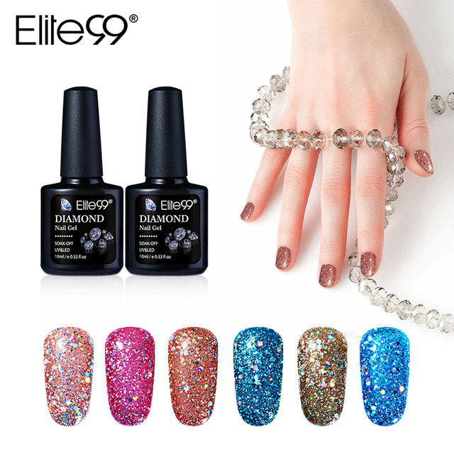 Elite99 New Arrival 10ml Diamond Glitter Uv Nail Polish Sequins Gel Manicure Soak Off