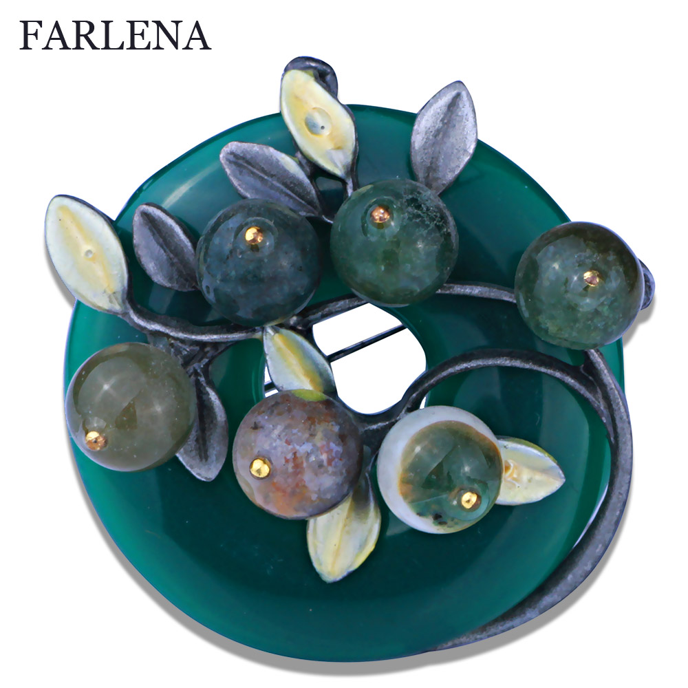 5 Colors Vintage Plant  Brooch High-end Nature Stones Brooch Beautiful Pins For Women New 2016 FBRO053