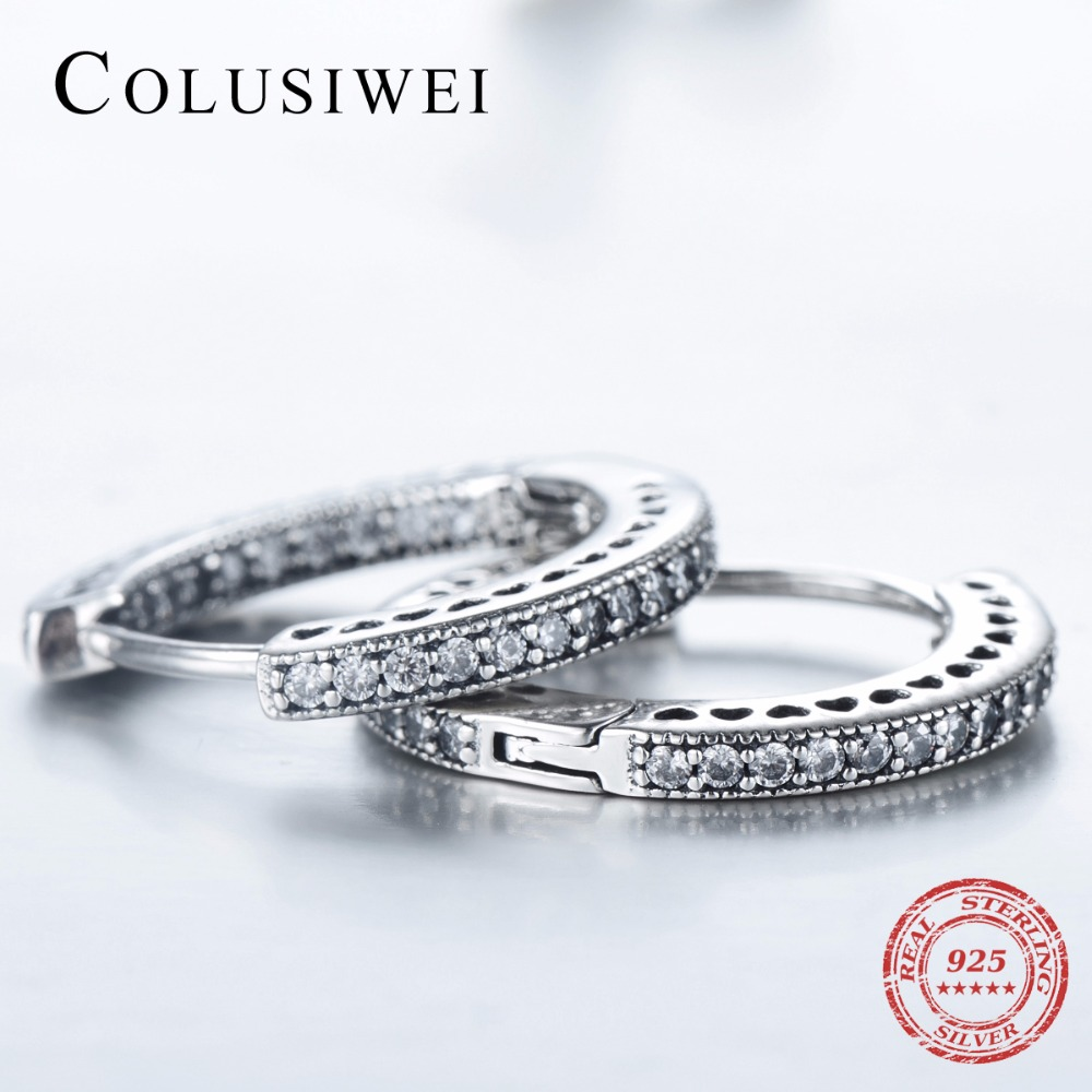 2019 New Design 925 Sterling Hoop Earrings Silver Fashion Hearts Simple Cubic Zirconia Jewelry For Women Wedding Elegant Gift