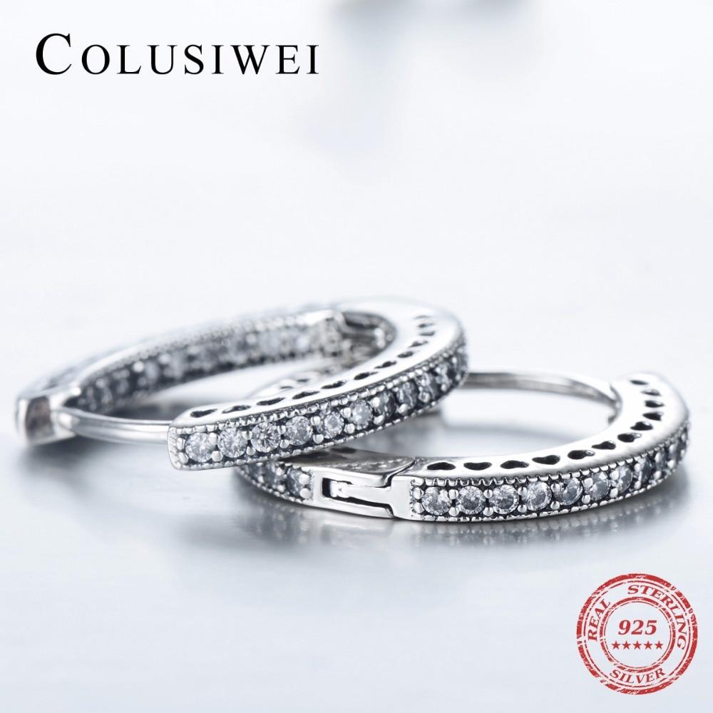 2019 New Design 925 Sterling Hoop Earrings Silver Fashion Hearts Simple Cubic Zirconia Jewelry For Women Wedding Elegant Gift