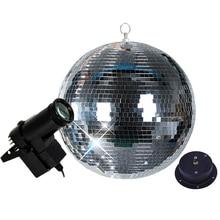 مرآة ديسكو ذات مرآة دوارة من Thrisdar Dia25CM 30 سنتيمتر مزودة بمحرك و10واط وشعاع RGB Pinspot DJ مصباح مسرح منزلي للحفلات