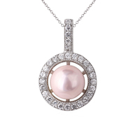 Jewelry Women Round Pearl Authentic S925 Sterling Silver Pendant Necklace Fashion Jewelry P047