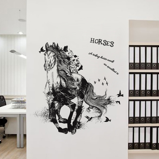 Horse Removable Cartoon Wall Sticker