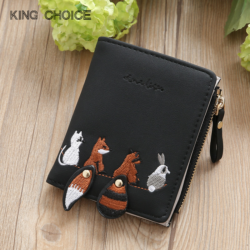 Individuality PU Leather Hasp Zipper Mini Coin Card Holder Women Cute Cartoon Embroidery Wallet Short Purse Popular Wholesales
