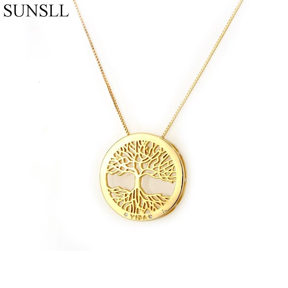 Gold/Black/Silver Color Copper White Cubic Zirconia Life Tree Pendant Necklaces Women's Fashion Jewelry CZ Colar Feminina