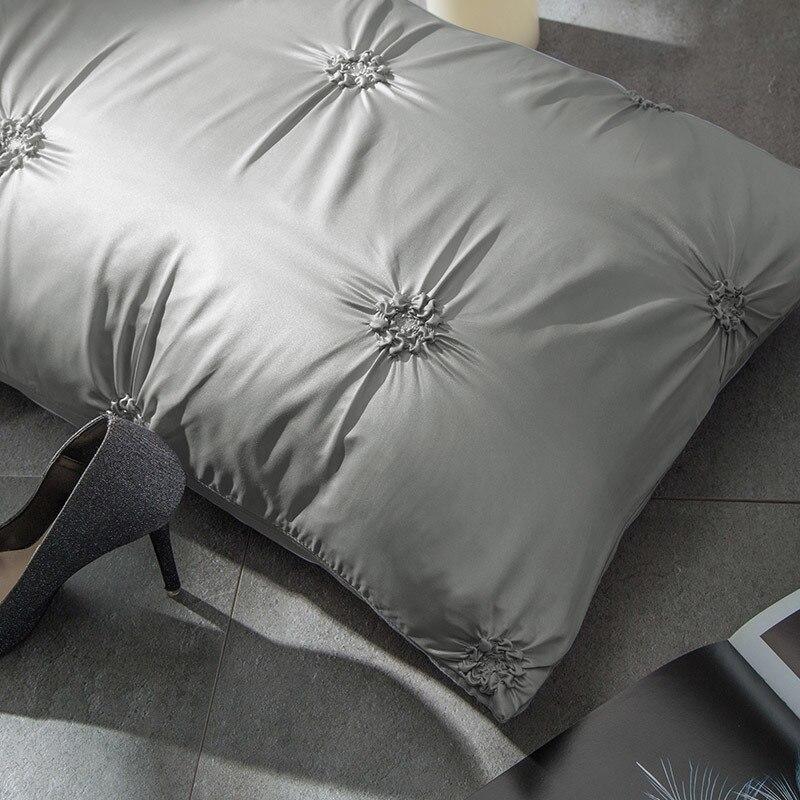 Doux gris pince pli Design housse de couette ensemble coin cravates coton Pintuck décoratif literie ensemble reine roi 4 pièces - 6