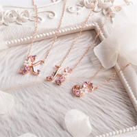 FASHION Rose Gold Natural Bead Flowers 4 Kinds of Colors The Most Beautiful Lock Chain Necklace