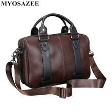 Brand Male Bag PU Leather Briefcase Men Business Handbag Travel Messenger Bags Boys Vintage Shoulder Bag Large Capacity недорого