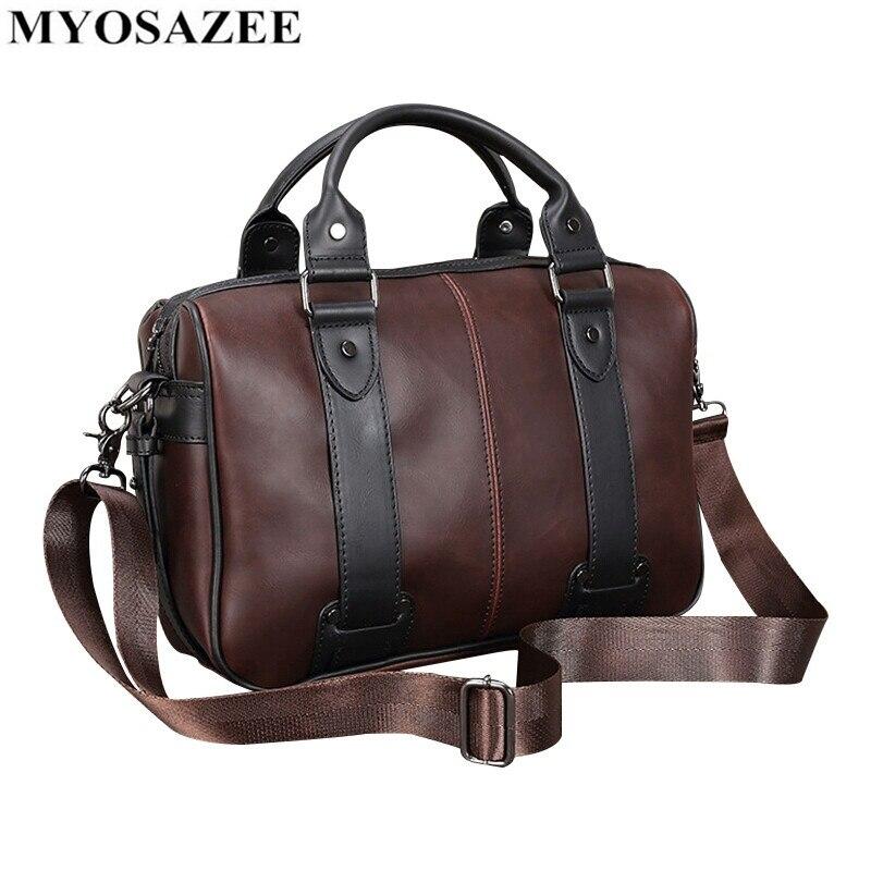Brand Male Bag PU Leather Briefcase Men Business Handbag Travel Messenger Bags Boys Vintage Shoulder Bag Large Capacity