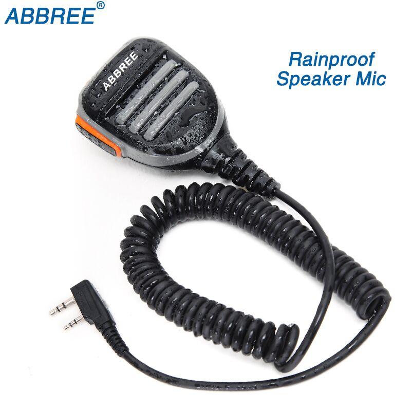 ABBREE 2 Double Pin PTT Étanche Épaule Haut-Parleur Microphone pour TYT Baofeng Talkie Walkie UV-5R BF-888S UV-82 Deux Way Radio