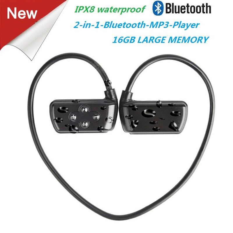 Date 901 p Bluetooth Étanche 16g HIFI MP3 Lecteur IPX8 Natation Sport En Plein Air Sans Fil Écouteurs USB MP3 Lecteurs de Musique