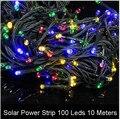 Solar Led RGB Tira ip65 À Prova D' Água 10 M 100Led/M Tira Conduzida Barra de luz 2 V Fita Led String Faixa Neon Bombillas Led lâmpada