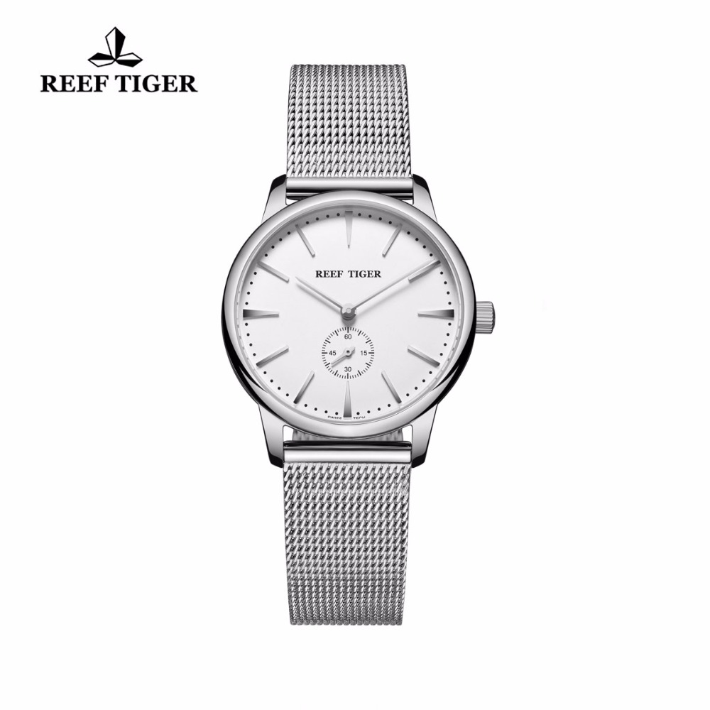 Reef Tiger/RT Full Stainless Steel Analog Quartz Watches for Women Waterproof Vintage Couple Watches RGA820