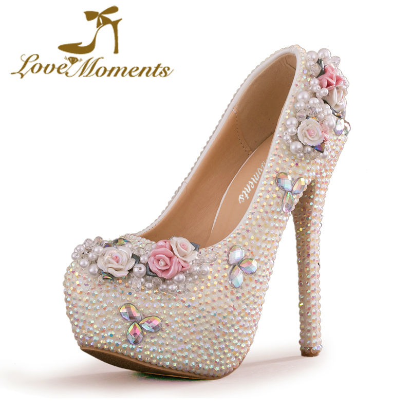 Love Moments Sparkling White AB Crystal Wedding Party Shoes Handmade High Quality Rhinestone Bridal Dress Shoes Event Prom Pumps ab crystal heels luxury diamond platform bridal pumps wedding shoes lady sparkling prom party shoes mother of bride shoes