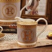 340ml British Bone China Milk Jug Europe Porcelain Sugar Bowl Ceramic Tea Coffee Pitcher Espresso Cup Coffeware Set Accessories