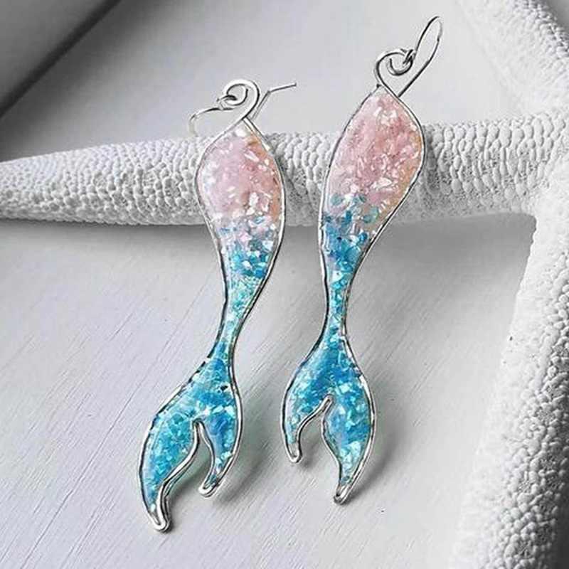 Czeski Vintage opale syrenka Tassel kolczyki dla kobiet Multicolor żywica Shinny ogon syreny spadek kolczyk biżuteria ślubna